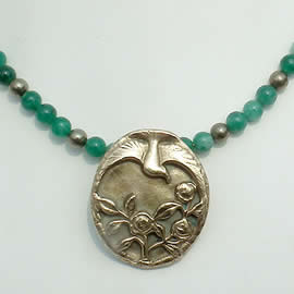 022I-022 Bronze necklace  bird & flowers art-deco style+ GEM beads