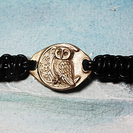 141bp-017 Ajustable bracelet little owl celtic designs and pentagram   in patined  goldy b