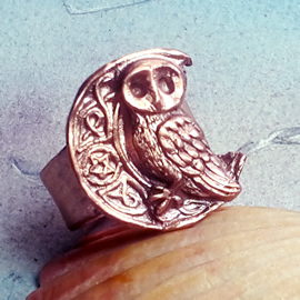 193bp-036 Ring, little owl celtic designs and pentagram  handmade in copper