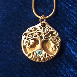 a42a1-047  Pendant Yggdrasil, the celtic tree of life and a blue  zirconia