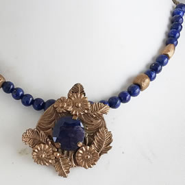 H22X-038 necklace, handmade bronze+enhanced dark blue sapphir,lapislazuli+bronze beads