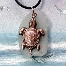 243T-047 Handmade copper sea Turtle and Seaglass Pendant