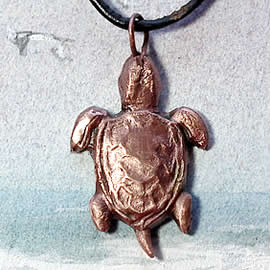 243T-021 Pendant: Little copper sea turtle, unique piece, on a black leather band