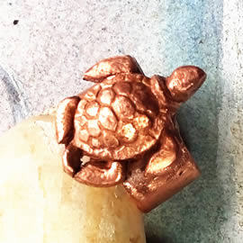 293T-005 Copper ring with a little sea turtle handmade to your size