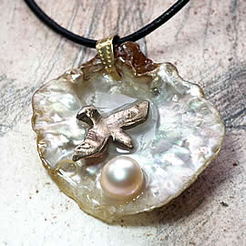 342G0-028 Pendant Handmade bronze seagull, sweetwater pearl on an iridescent  anomia shell