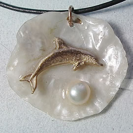 442U0-034 Pendant Handmade Bronze Dolphin,  white sweetwater pearl & anomia  shell