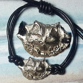 571Q--005 thin bracelet  silver bronze  long haired cat, leather strap