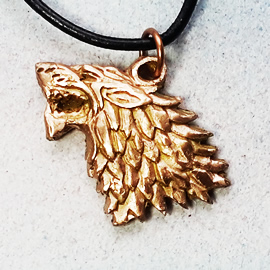 542l-051 goldbronze pendant wolf, copper or silver bronze possible