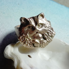 592Q-007 unisex ring  long haired cat handmade in gold bronze  to your size