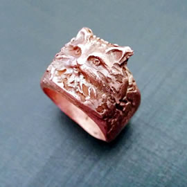593Q-006 unisex Ring : long haired cat handmade in copper