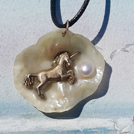 642O5-022 Pendant- handmade bronze unicorn, sweetwater pearl on an iridescent anomia shell