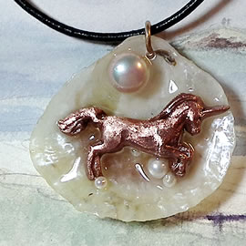 643O5-061 Pendant- handmade copper unicorn, sweetwater pearl on an iridescent anomia shell