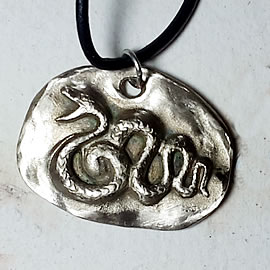 941W1-008 Pendant silver-bronze snake, leather strap