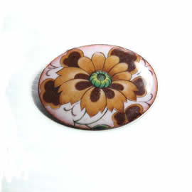 m56B-002 romantic Enamel brooch, vintage style, with decal   flowers