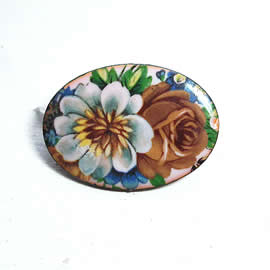 m56B-003 romantic Enamel brooch, vintage style, with decal   flowers