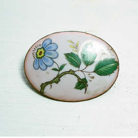m56B-005 romantic Enamel brooch, vintage style, with decal  blue and green flower