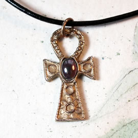 A42a-007 Egyptian cross, little Ankh cross in bronze with a garnet cab