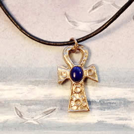 A42a8-001 Egyptian cross, little Ankh cross in bronze and lapis lazuli