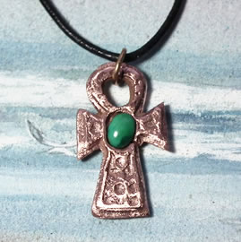 A43a-008 Egyptian cross, little Ankh cross in copper and Turquoise