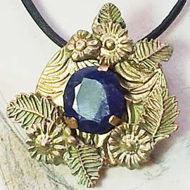 H22X-038-Handmade Bronze pendant/necklace with an enhanced dark blue sapphir