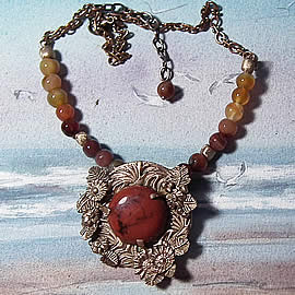 H22X-041-Handmade Bronze necklace  with a red jasper and agat and bronze beads