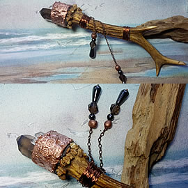 Ww3a-013 Wicca-Pagan Wand, Deer horn , rock cristal needles,Copperskull, hematite