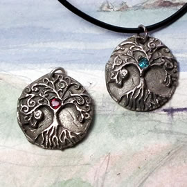 a41a1-046 Pendant little  white bronze Yggdrasil, the celtic tree of life+coloured CZircon