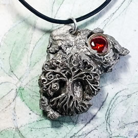 a41a9-025 SilverBronze pendant, meteorite- Yggdrasil the celtic tree of life +red zirconia