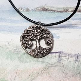 a41b3-013 Pendant little  white bronze Yggdrasil, the celtic tree of life