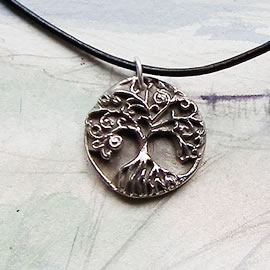 a41b1-025 Pendant little  white bronze Yggdrasil, the celtic tree of life