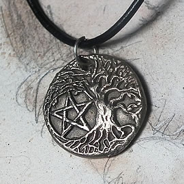 a41bp-070 Pendant, Yggdrasil, celtic tree of life+a pentagram handmade in silvercolour bro
