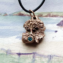 a42a7-037 Bronze pendant, meteorite-Yggdrasil the celtic tree of life+ blue zirconia