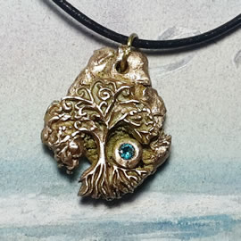 a42a9-037 Goldbronze pendant, meteorite-Yggdrasil the celtic tree of life+ blue zirconia