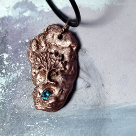 a43a7-037 Copper  pendant, meteorite-Yggdrasil the celtic tree of life+ blue zirconia