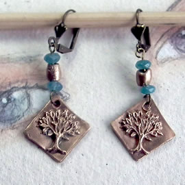 a62a6-025 Gold colour Bronze earrings yggdrasil, the celtic tree of life+aquamarins