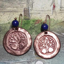 a63a9-005 Copper earrings yggdrasil, celtic tree of life+Lapis lazuli beads or other stone