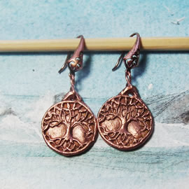 a63b9-022 Celtic/wicca earrings : handmade copper yggdrasil, the  tree of life of the celt