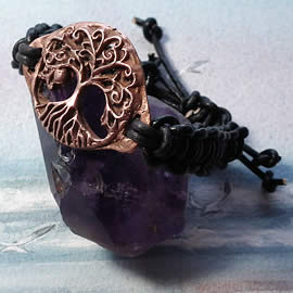 a73b3-008 Ajustable copper hand made  Yggdrasil  bracelet  with a leather macrame