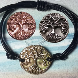 a72b1--029 Ajustable Goldbronze,silverbronze or copper Yggdrasil+leather bracelet