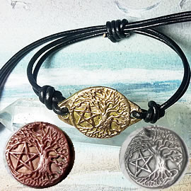 a72bp--023 Ajustable/unisex  bracelet, Bronze or copper celtic Yggdrasil+pentagramm