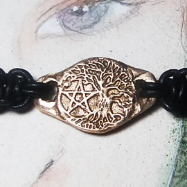 a72bp-015 Ajustable bracelet, goldcolor Bronze unisex handmade Yggdrasil and pentagramm