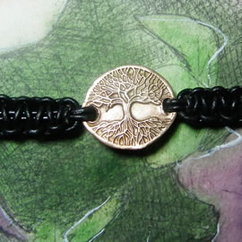 a72w0-013 Ajustable bracelet, goldcolor Bronze unisex handmade Yggdrasil +black leather ma