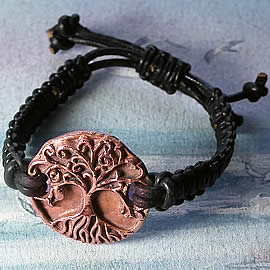 a73w-009 Ajustable copper hand made  Yggdrasil  bracelet  with a leather macrame