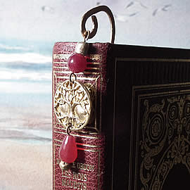 am2a-001 Bookmark handmade in bronze with treated(teinted/oiled) ruby drops and red agat
