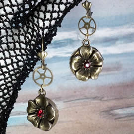 b6dA-039 Steampunk Earrings bronze colour flower, gears, red crystal Swarovski cabs