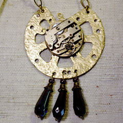b2fi-007 Steampunk necklace Clock pieces,watch mechanism & facetted crystal drops