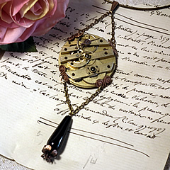 b2fi-009 Steampunk  necklace Mecanism+copper stamping+onyx