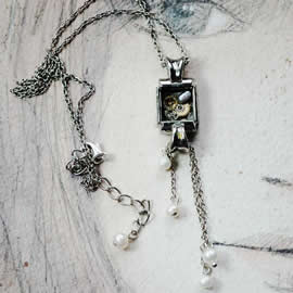 b4ff-038 Steampunk pendant  resin, gears, sweetwater pearls & vintage wrist watch case
