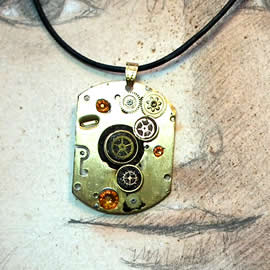 B4fz0-035 Steampunk Pendant piece & gears of clock and watches+Swarovski crystal cabs