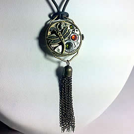 b4ff-026 Steampunk dragonfly pendant with pompon and a vintage  wrist watch case